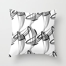 Monochrome pattern lines for decoration in Victorian style on a white background. Throw Pillow