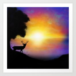 Sunset Reindeer Art Print