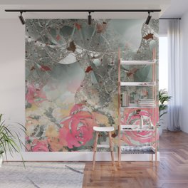 Misty rose garden Wall Mural