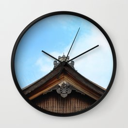 Traditional Japanese Rooftop Architecture Wall Clock
