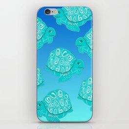 Teal Sea Turtles Blue & Aqua Pattern iPhone Skin