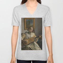 """Johannes Vermeer """"The Guitar Player"""" Unisex V-Neck"""