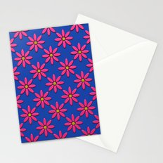 Pink Flowers on Blue Field Stationery Cards