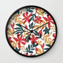 Hawaiian Cut Paper Botanical Print Wall Clock