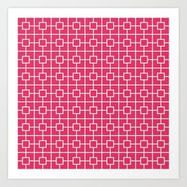 Cerise Pink Square Chain Pattern Art Print