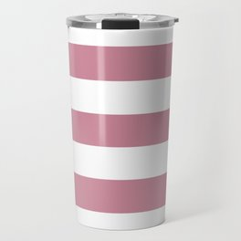 Puce - solid color - white stripes pattern Travel Mug