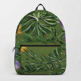 Tropical Pattern Big Leaves Backpack