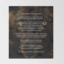 The TWO WOLVES CHEROKEE TALE Throw Blanket