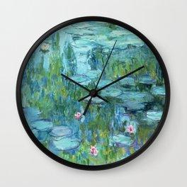 Claude Monet Water Lilies / Nymphéas teal aqua Wall Clock