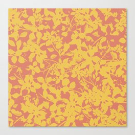 Yellow and Coral Botanical Pattern - Broken but Flourishing Canvas Print