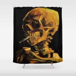 Van Gogh, Skull of a Skeleton with Burning Cigarette  – Van Gogh,Vincent Van Gogh,impressionist,post Shower Curtain