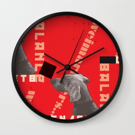 Constructivist Weimaraner Balancing Black Cube Wall Clock