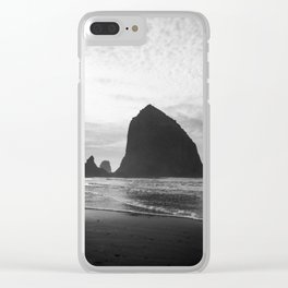 Haystack Rock in Black and White - Cannon Beach, Oregon Film Photo Clear iPhone Case