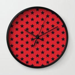 Superstars Black on Red Medium Wall Clock