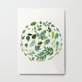Circle of Leaves Metal Print
