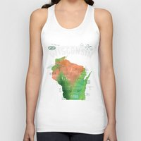 wisconsin Tank Tops featuring Wisconsin Map by Stephanie Marie Steinhauer