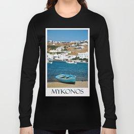 Blue Boat on Mykonos Island Greece Long Sleeve T-shirt