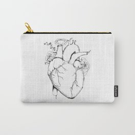 Black and White Anatomical Heart Carry-All Pouch