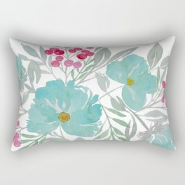 Blue Beach Flowers Rectangular Pillow
