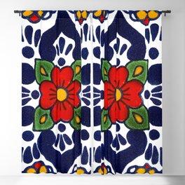 talavera mexican tile in blu Blackout Curtain