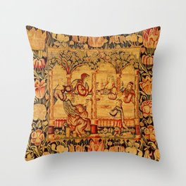 Jesus with Mary Magdalene 16th Century German Tapestry Throw Pillow