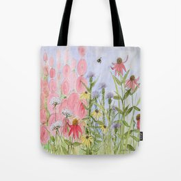 Botanical Floral Watercolor Pink Blue Yellow Flowers Blue Skies Tote Bag