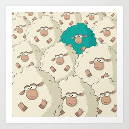 Sheep Pattern | Turquoise Art Print
