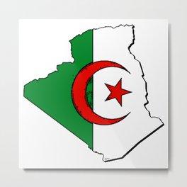 Algeria Map with Algerian Flag Metal Print
