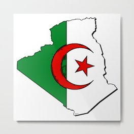 Algeria Map with Algerian Flag Metal Print