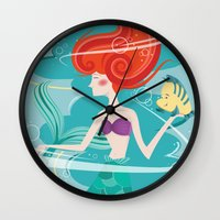 the little mermaid Wall Clocks featuring Little Mermaid by LindseyCowley