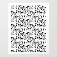 pugs Art Prints featuring Oh Pugs by Huebucket