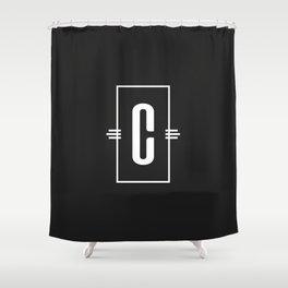 Modern Monogram  Letter C Black and White Shower Curtain