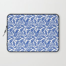 Bird and Berries Pattern Blue Laptop Sleeve