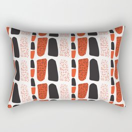Terracotta and Black Abstract Drawn Symbols Style Rectangular Pillow