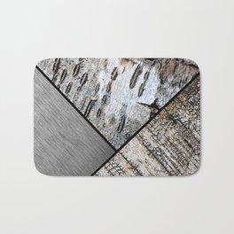 Birch Bark and Digital Brushed Silver Metal Bath Mat