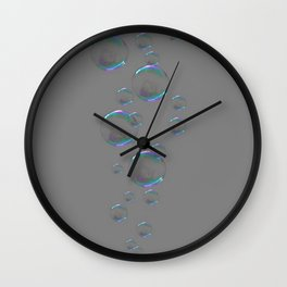IRIDESCENT SOAP BUBBLES GREY COLOR DESIGN Wall Clock