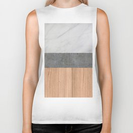 Carrara Marble, Concrete, and Teak Wood Abstract Biker Tank