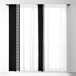 Greek Key 2 - White and Black Blackout Curtain