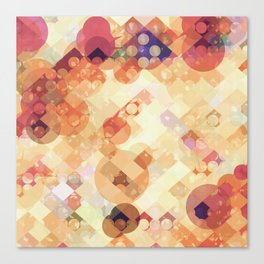 geometric square pixel and circle pattern abstract in orange brown Canvas Print