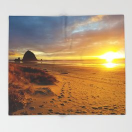 Cannon Beach Oregon at Sunset Haystack Rock Throw Blanket