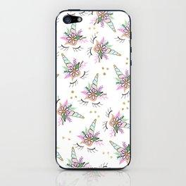 Modern cute whimsical floral unicorn pattern illustration gold glitter polka dots iPhone Skin