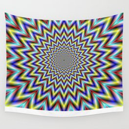 Pulsar in Red Yellow and Blue Wall Tapestry