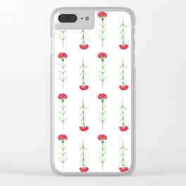 Carnations flowers watercolor art Clear iPhone Case