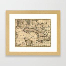 Vintage Map of Cuba (1762) Framed Art Print