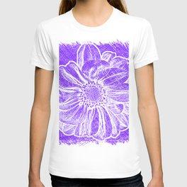 White Flower On Purple Crayon T-shirt