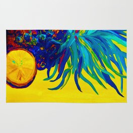 Blue Pineapple Abstract Rug