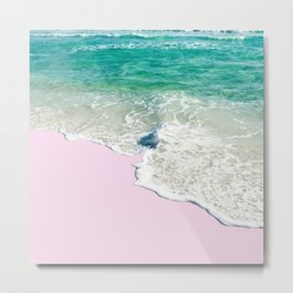 Pink Sand & Blue Sea Bliss Metal Print