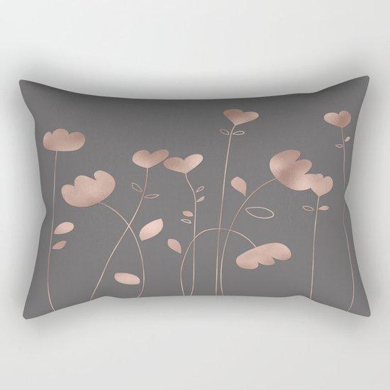 Rosegold pink flowers- floral design- Flower Rectangular Pillow