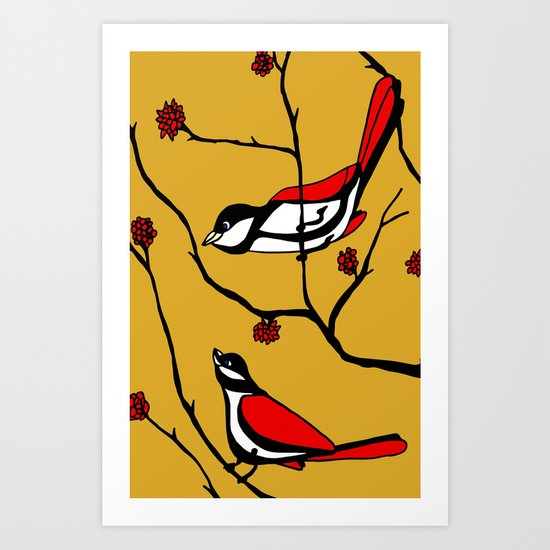 Red Birds Art Print