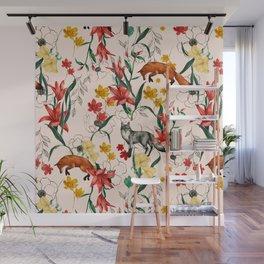 Floral Fox Wall Mural